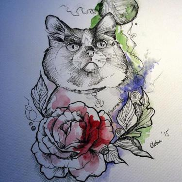 Best Watercolor Cat Tattoo