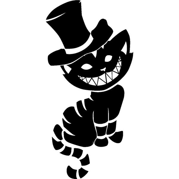 Black Cheshire Cat Tattoo Design