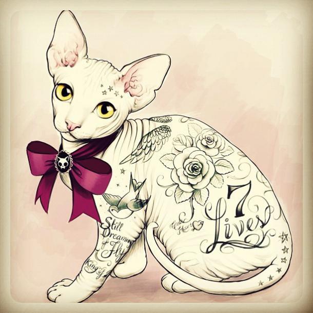 Cat 7 Lives Tattoo Design