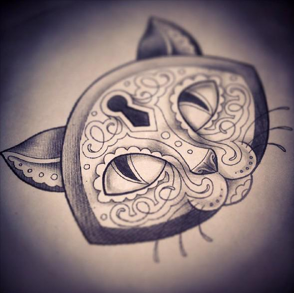 Cat Lock Tattoo Design