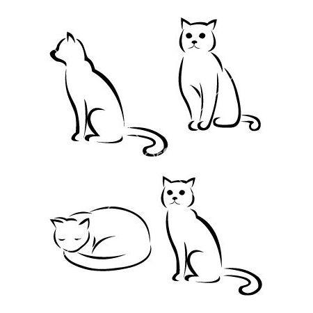 Cat Outline Tattoo Design