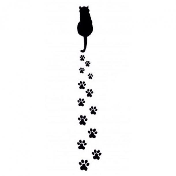 Cat with Pows Trace Tattoo Design