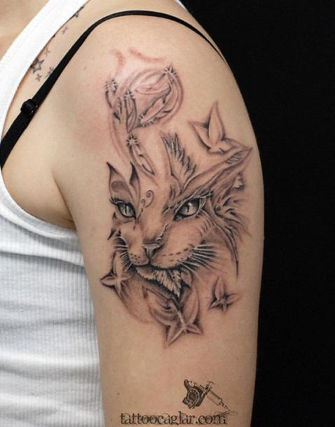 Cat and Butterflies Tattoo Idea
