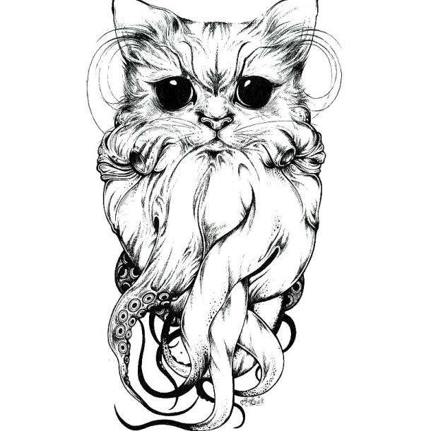 Cat with Tentacles Tattoo Design