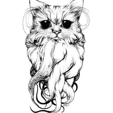 Cat with Tentacles Tattoo