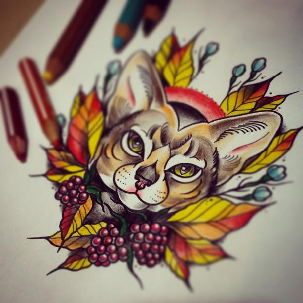 Colorful Cat Tattoo Design