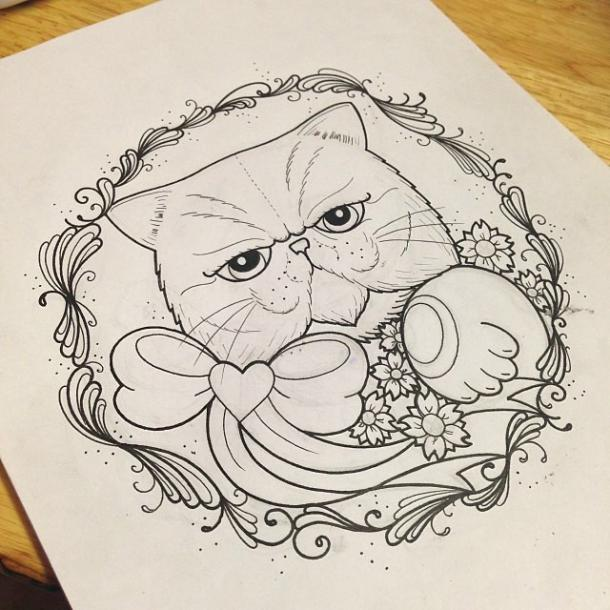 Cute Fat Cat Tattoo Design