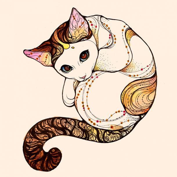 Earth Element Kitty Tattoo Design