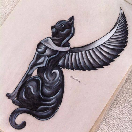 Egyptian Cat Tattoo Design