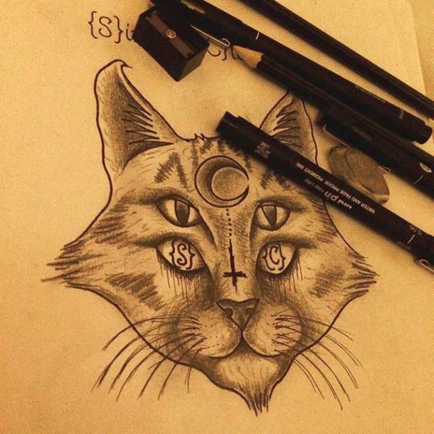 Four-eyed Cat Tattoo Design