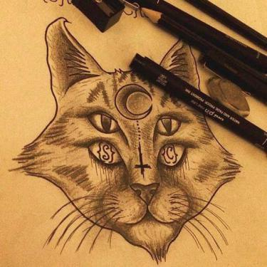 Four-eyed Cat Tattoo