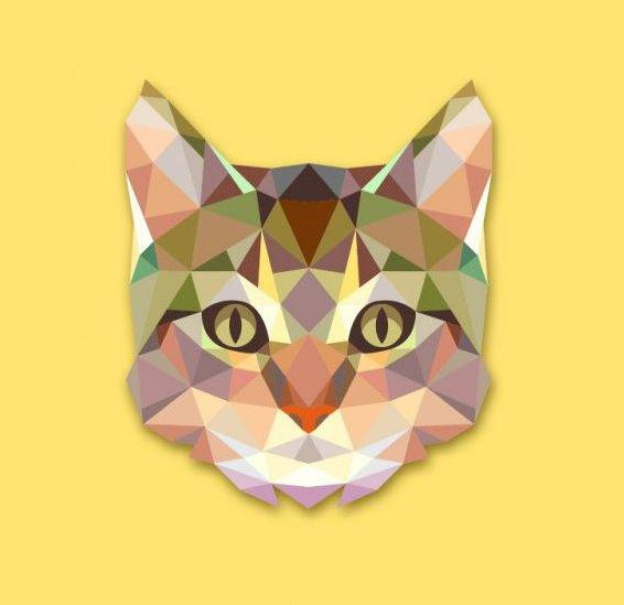 Geometric Cat Muzzle Tattoo Design