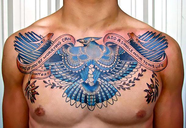 Best Bluebird Tattoo on Chest Tattoo Idea