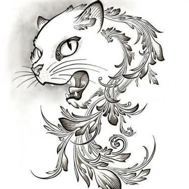 Grinning Cat Tattoo