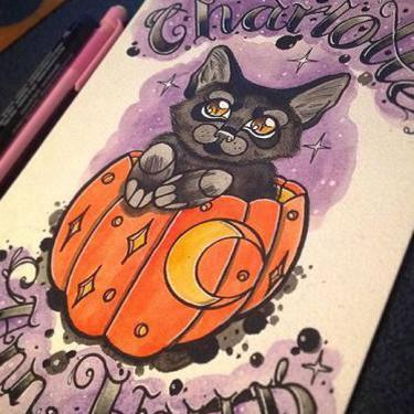 Cute Haloween Cat Tattoo