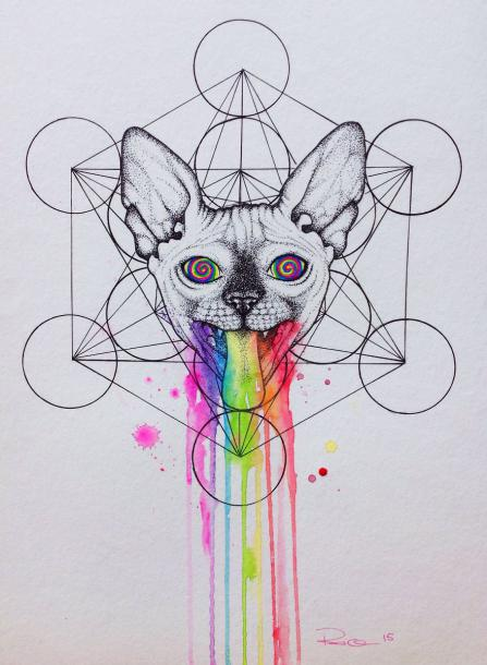 Hypno-Cat Tattoo Design