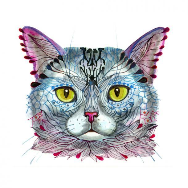 Magical Cat Tattoo Design
