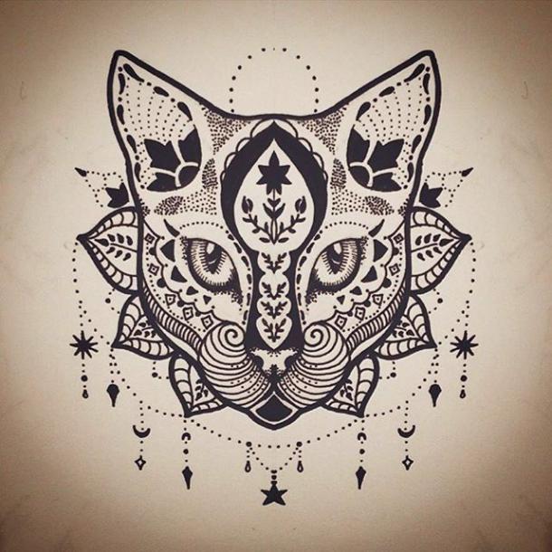 Mandala Cat Tattoo Design