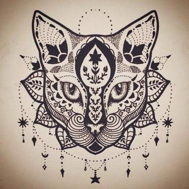 Mandala Cat Tattoo