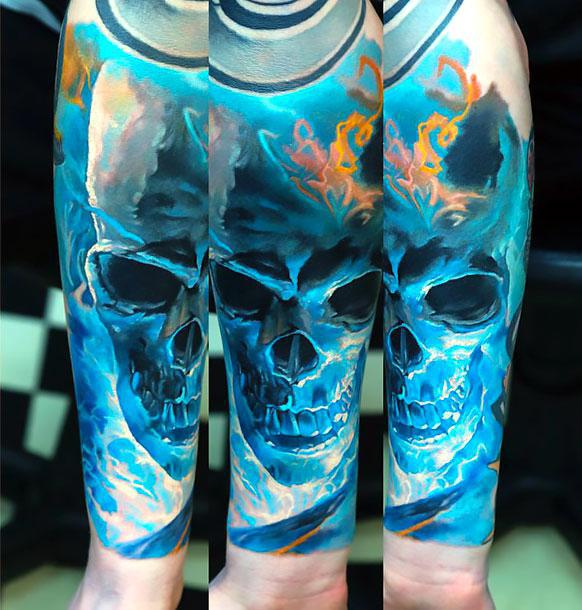 Best Blue Skull Sleeve Tattoo Idea