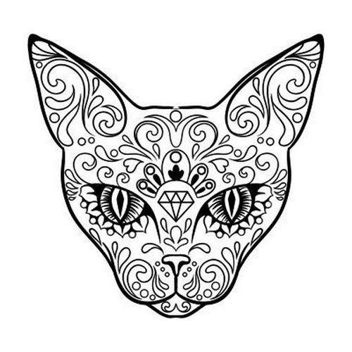 Pattern Cat Tattoo Design