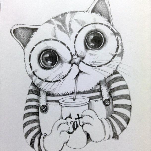 Smart Cat Tattoo Design