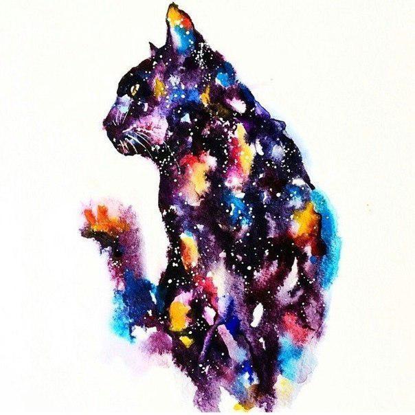 Space Cat Tattoo Design