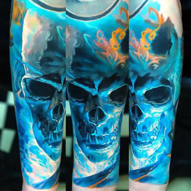 Best Blue Skull Sleeve Tattoo