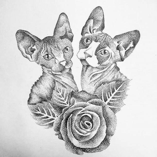 Two Sphynx Cats Tattoo Design