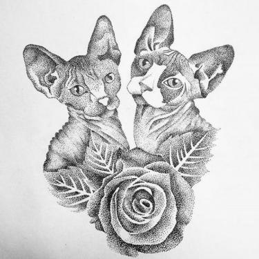 Two Sphynx Cats Tattoo