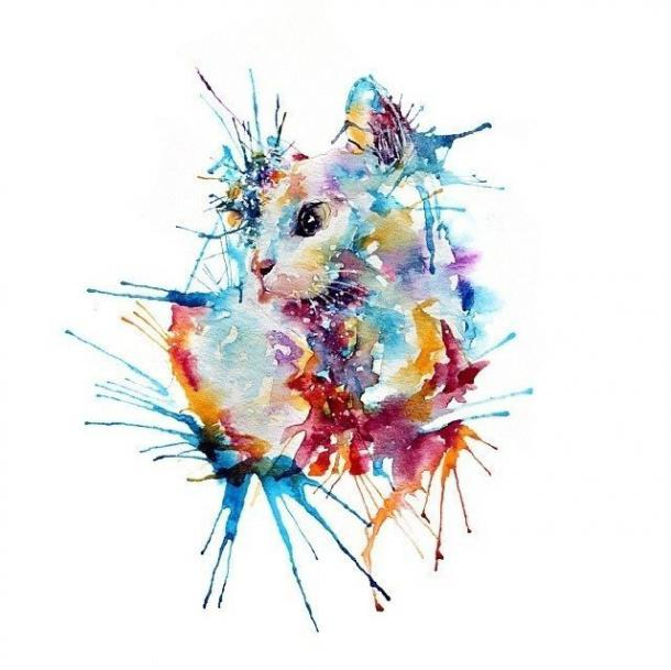 Cool Watercolor Cat Tattoo Design