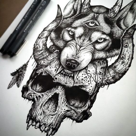3-eyed Wolf Skull Tattoo Design