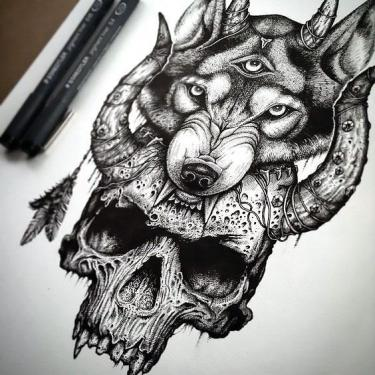 3-eyed Wolf Skull Tattoo