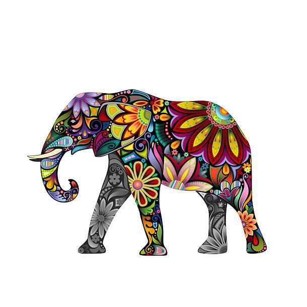 Amazing Colorful Elephant Tattoo Design