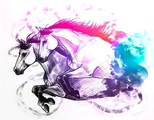 Amazing Colorful Horses Tattoo Design