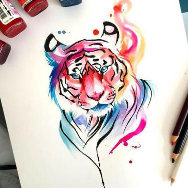 Amazing Colorful Tiger Tattoo