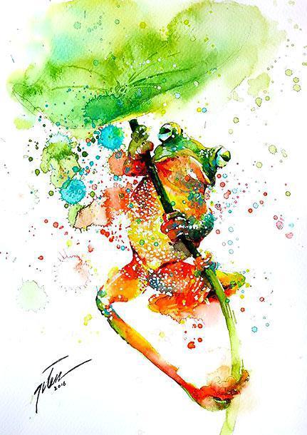 Amazing Colorful Tree Frog Tattoo Design