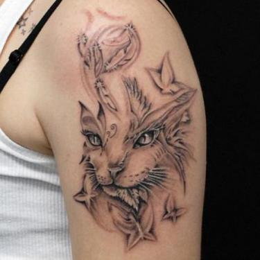Cat and Butterflies Tattoo