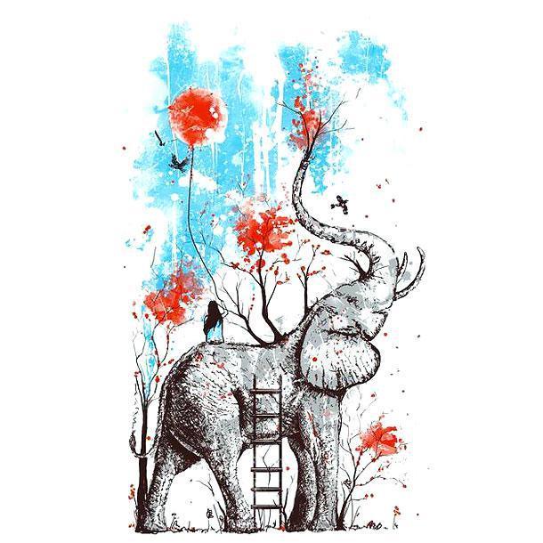 Amazing Colorful Unique Elephant Tattoo Design