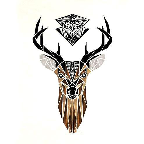 Amazing Deer Head Tattoo Design