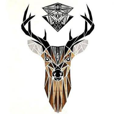Amazing Deer Head Tattoo