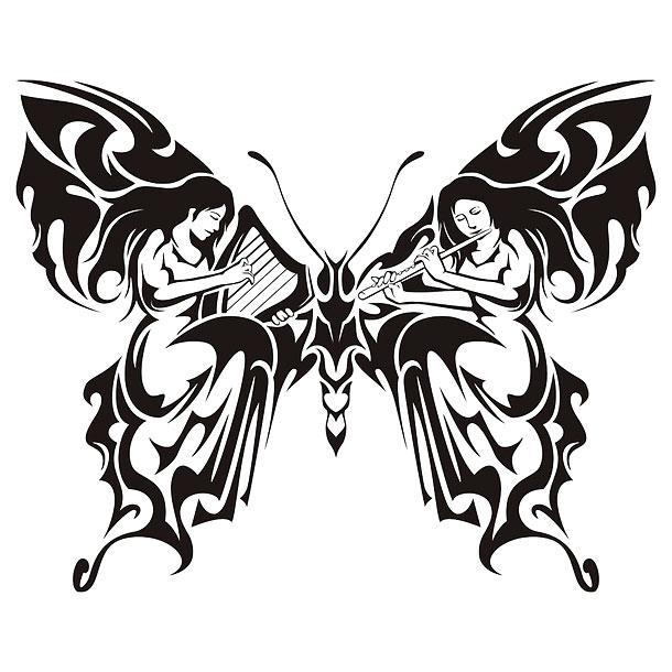 Tribal Butterfly With Women Playing Music Tattoo Design
