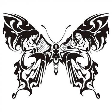 Tribal Butterfly With Women Playing Music Tattoo