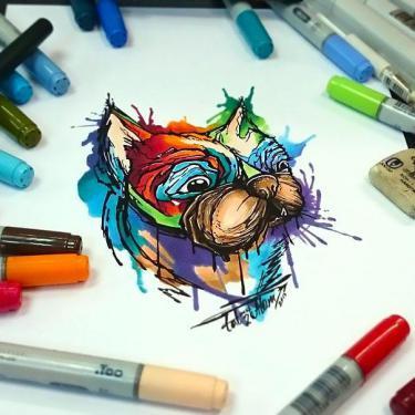 Amazing Watercolor Dog Tattoo