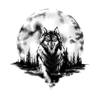 Amazing Wolf and Moon Tattoo Design