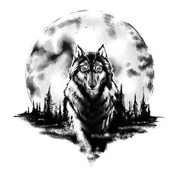 Amazing Wolf and Moon Tattoo