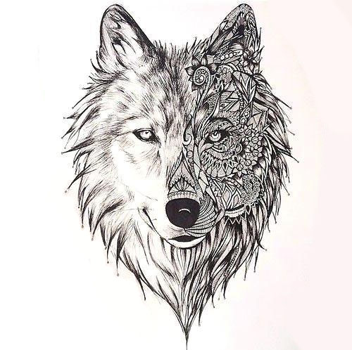 Amazing Wolf Face Tattoo Design