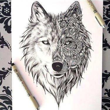 Amazing Wolf Face Tattoo