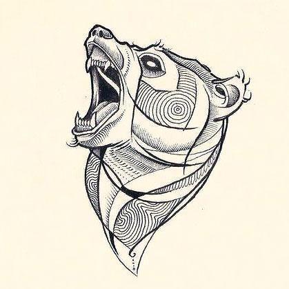 Angry Bear Head Tattoo Design