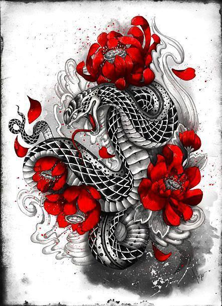 Asian Snake With Red Flowers Tattoo Design